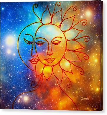 Moon Do You Love Me Asks The Sun... Canvas Print
