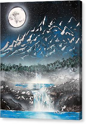 Canvas Print featuring the painting Moon Falls by Greg Moores