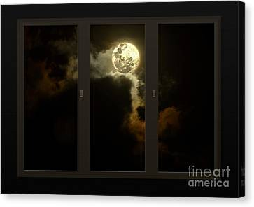 My Space Canvas Print - Moon From My Living Room by Kaye Menner