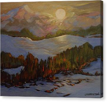 Silver Moonlight Canvas Print - Shimmering Moonglow by Catherine Robertson