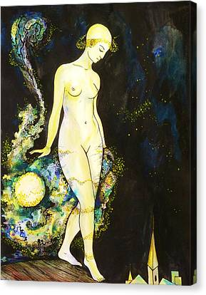 Canvas Print featuring the drawing Moon Light by Anna  Duyunova