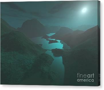 Moon Light At The Mountains Canvas Print by Gaspar Avila
