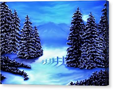 Moon Light Mountains Canvas Print