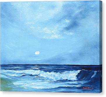 Moon Light Night Wave Canvas Print