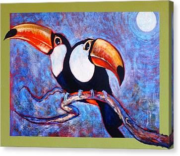Moon Light Toucans Two Canvas Print