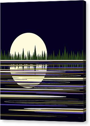 Canvas Print featuring the digital art Moon Lit Water by Val Arie