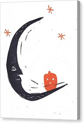Moon Man And Jack-o-lantern Canvas Print by Coralette Damme