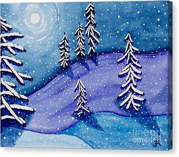 Moon On Snow II Canvas Print by Tonya Hudson