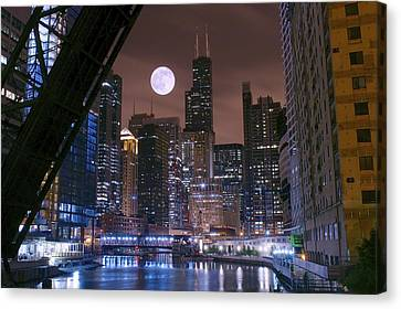 Moon Over Chicago Canvas Print