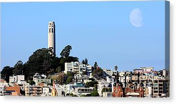 Moon Over Coit Tower Canvas Print by Wingsdomain Art and Photography
