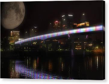 Moon Over Downtown Little Rock - Arkansas - Luna Canvas Print by Jason Politte