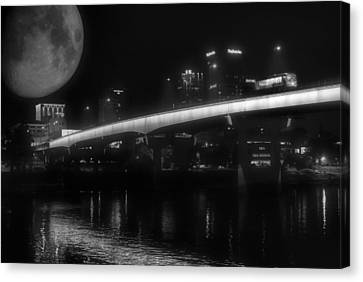 Moon Over Downtown Little Rock - Black And White - Arkansas Canvas Print by Jason Politte
