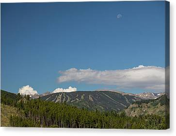 Canvas Print featuring the photograph Moon Over Eldora Summer Season Ski Slopes by James BO Insogna