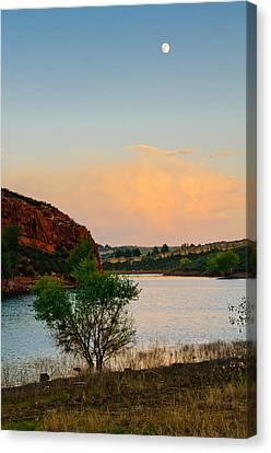 Moon Over Eltuck Bay, Ft. Collins, Colorado Canvas Print by Preston Broadfoot