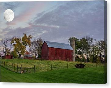 Moon Over Farm Canvas Print by Randall Branham