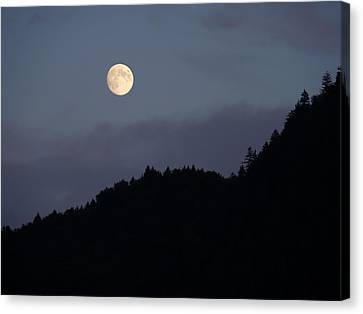 Canvas Print featuring the photograph Moon Over Hill by Menega Sabidussi