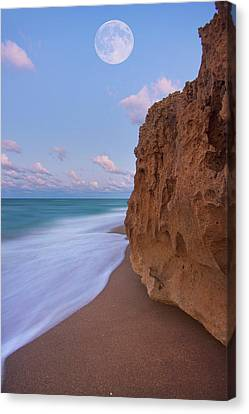 Moon Over Hutchinson Island Beach Canvas Print by Justin Kelefas