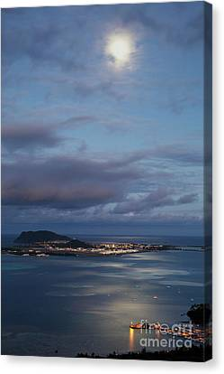 Moon Over Kaneohe Bay Canvas Print by Charmian Vistaunet