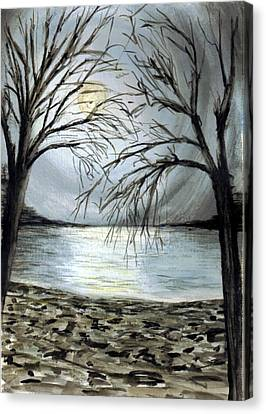 Moon Over Lake Canvas Print by Terence John Cleary