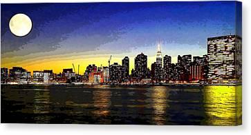 Newyorkcity Canvas Print - Moon Over Manhattan by Charles Chin