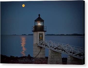 Canvas Print featuring the photograph Moon Over Marshall Point by Rick Berk