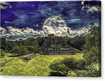 Moon Over Mayan Temple Two Canvas Print