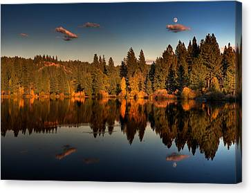 Moon Over Mill Pond Canvas Print by Mick Burkey