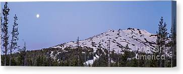 Moon Over Mount Bachelor Canvas Print by Twenty Two North Photography