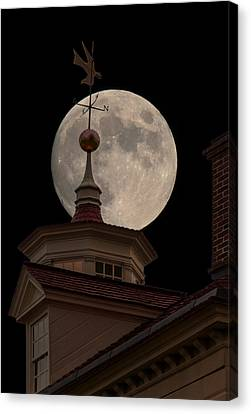 Moon Over Mount Vernon Canvas Print by Ed Clark