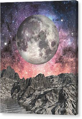 Canvas Print featuring the digital art Moon Over Mountain Lake by Phil Perkins