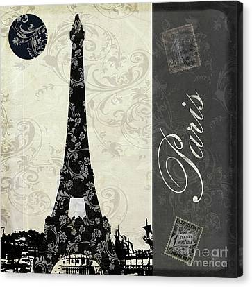 Moon Over Paris Postcard Canvas Print by Mindy Sommers
