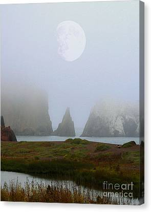 Moon Over Rodeo Beach Canvas Print by Wingsdomain Art and Photography