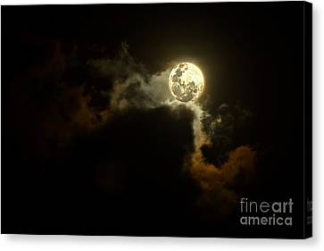 Glowing Moon Canvas Print - Moon Over Sunset Clouds By Kaye Menner by Kaye Menner