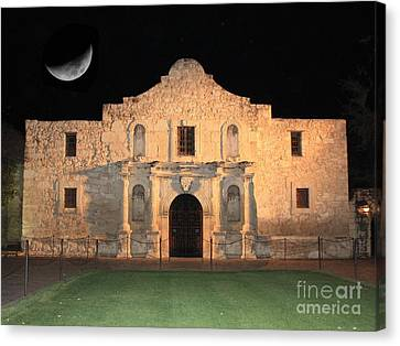 Moon Over The Alamo Canvas Print