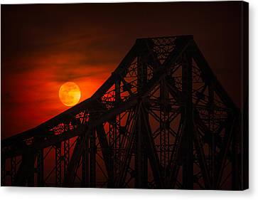 Beaver Canvas Print - Moon Over The Bridge by Emmanuel Panagiotakis