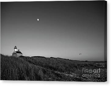 Block Island Canvas Print - Moon Over The North Light by Diane Diederich