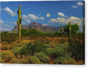 Moon Over The Superstition Mtn Canvas Print by Brian Lambert