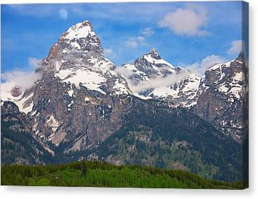 Moran Canvas Print - Moon Over The Tetons by Darren  White
