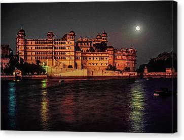 Moon Over Udaipur Canvas Print by Steve Harrington
