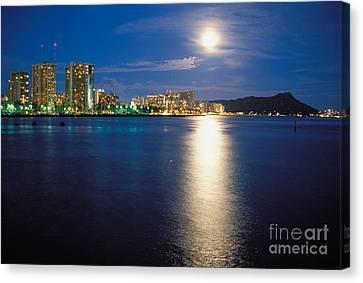 Sea Moon Full Moon Canvas Print - Moon Over Waikiki by Mary Van de Ven - Printscapes