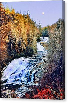 Moon Over Triple Falls Canvas Print