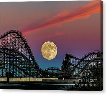 Roller Coaster Canvas Print - Moon Over Wildwood Nj by Nick Zelinsky