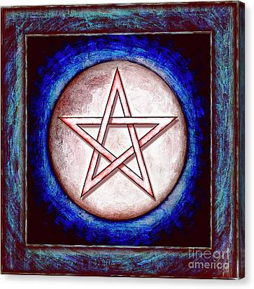 Moon Pentagram - Red Shining Canvas Print
