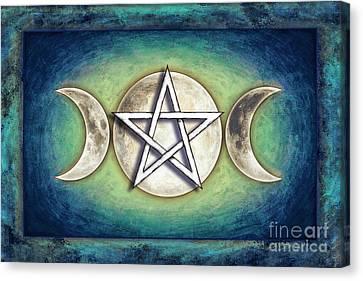 Moon Pentagram - Tripple Moon 2 Canvas Print by Dirk Czarnota