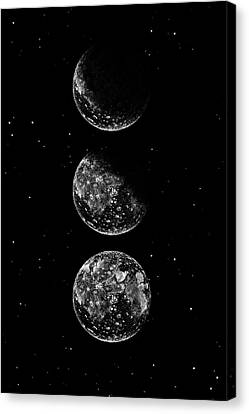 Moon Phases And Black Sky With Stars Canvas Print