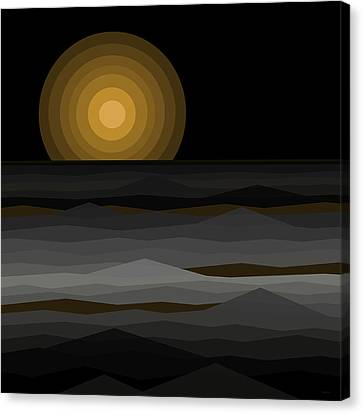 Moon Rise Abstract - Black And Gold Canvas Print