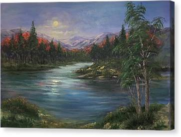 Canvas Print featuring the painting Moon Rise On The Lake by Laila Awad Jamaleldin