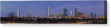 Canvas Print featuring the photograph Moon Rise Over Austin by Robert Harshman
