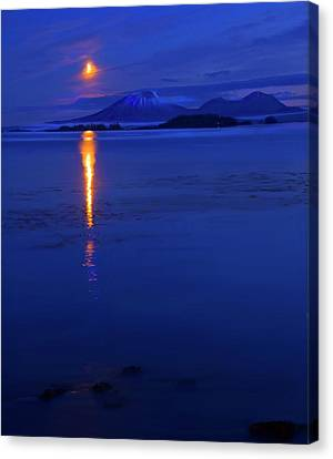 Volcano Rock Canvas Print - Moon Rise Over Mt. Edgecumbe by Mike  Dawson