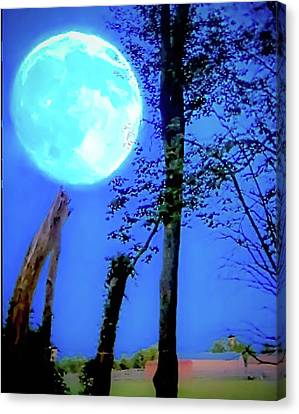 Moon Rising Over A Suburban Farm Canvas Print by Rick Grossman